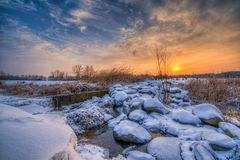Coucher du soleil en hiver Photos libres de droits
