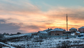 Coucher du soleil en hiver Photo stock
