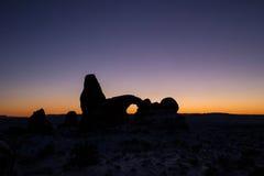 Coucher du soleil en hiver au parc national de voûtes Photographie stock libre de droits