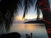 Coucher du soleil en Koh Tao image libre de droits