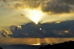 Coucher du soleil en la Madère Images stock
