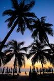 Coucher du soleil en mer Photographie stock