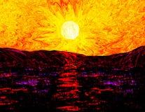 Coucher du soleil en mer illustration libre de droits
