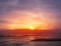 Coucher du soleil en mer Photo libre de droits