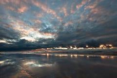 Coucher du soleil en mer baltique, Photographie stock