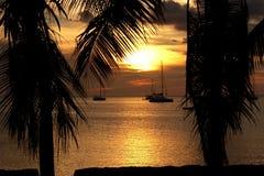 Coucher du soleil en mer des Cara?bes images libres de droits