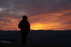 Coucher du soleil en montagne image libre de droits