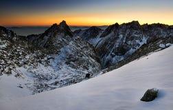 Coucher du soleil en montagne haut Tatras Photographie stock libre de droits