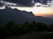 Coucher du soleil en montagnes de Simien Images stock
