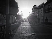 Coucher du soleil en noir et blanc Images stock