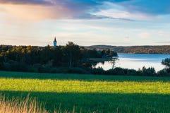 Coucher du soleil en Nora, Suède photographie stock libre de droits