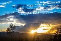 Coucher du soleil en Norvège Photos stock