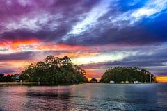 Coucher du soleil en Nouvelle Zélande Photographie stock
