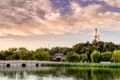 Coucher du soleil en parc de Beihai Images stock
