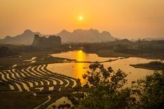 Coucher du soleil en parc de Huixian Photographie stock libre de droits