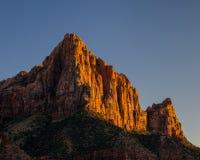 Coucher du soleil en parc national de Zion photo stock