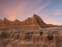 Coucher du soleil en parc national le Dakota du Sud de bad-lands Photo stock