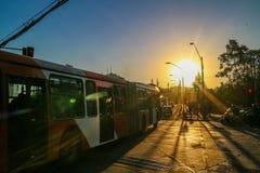 Coucher du soleil en piment de Santiago Photos stock