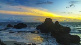 Coucher du soleil en plage Lampung de marina photographie stock libre de droits