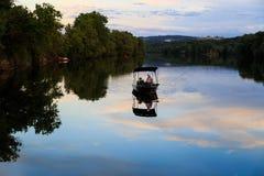 Coucher du soleil en rivière de Mohawk d'Amsterdam NY Images libres de droits