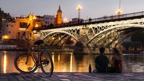 Coucher du soleil en Séville photographie stock libre de droits