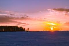 Coucher du soleil en Sibérie Image libre de droits