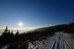 Coucher du soleil en Slovaquie photographie stock libre de droits