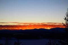 Coucher du soleil en Suède du nord Image stock