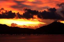 Coucher du soleil en Thaïlande Images stock