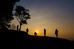 Coucher du soleil en Thaïlande du nord Image libre de droits
