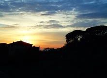 Coucher du soleil en Toscane Photographie stock