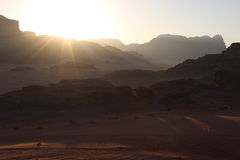 Coucher du soleil en Wadi Rum Photo stock