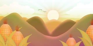 Coucher du soleil ensoleillé entre les montagnes et le maïs illustration stock