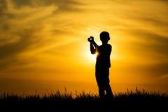 Coucher du soleil et amour Image libre de droits