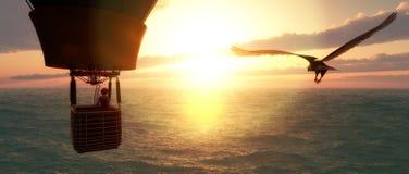 Coucher du soleil et ballon à air chaud Photo libre de droits