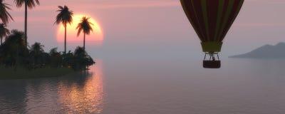 Coucher du soleil et ballon à air chaud Image libre de droits