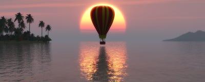 Coucher du soleil et ballon à air chaud Photographie stock libre de droits