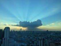 Coucher du soleil et lever de soleil Photographie stock libre de droits