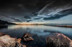 Coucher du soleil et paysage marin Photo libre de droits