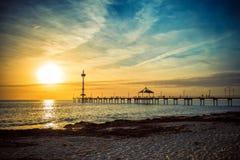 Coucher du soleil et plage photo stock