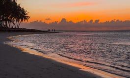 Coucher du soleil et siluet des palmiers et des personnes sur la plage images libres de droits