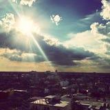 Coucher du soleil et tempête Image stock