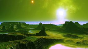 Coucher du soleil et UFO sur la planète étrangère banque de vidéos