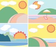 Coucher du soleil et vue de mer, carte d'été Images stock
