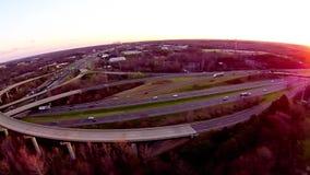 Coucher du soleil et vue du trafic de pont clips vidéos