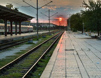 Coucher du soleil ferroviaire Photographie stock