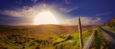 Coucher du soleil flou panoramique dans un comté Kerry Photographie stock