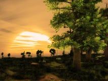 Coucher du soleil Forest Landscape rêveur Photo stock