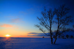 Coucher du soleil froid Photographie stock