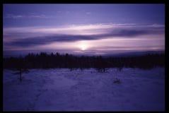 Coucher du soleil froid au milieu gelé de marais de l'hiver photographie stock